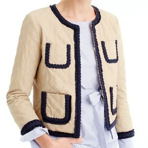 J. Crew Quilted Safari Braided Trim Cropped Jacket